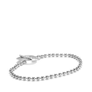 "7.5"" Sterling Silver T-Bar Clasp Ball Bracelet 7.7g"