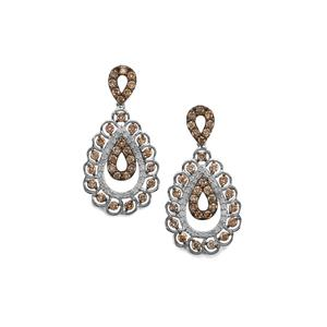 3ct Champagne & White Diamond Sterling Silver Earrings