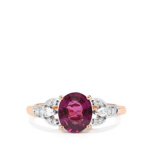 Comeria Garnet Ring with Diamond in 18K Rose Gold 2.59cts