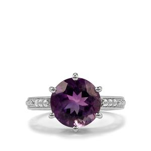 Zambian Amethyst Ring with White Topaz in Sterling Silver 4.61cts
