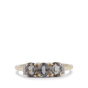 Burmese Grey Spinel Ring with White Zircon in 9K Gold 1.40cts
