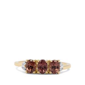 Miova Loko Colour Change Garnet & Diamond 9K Gold Ring ATGW 1.23cts