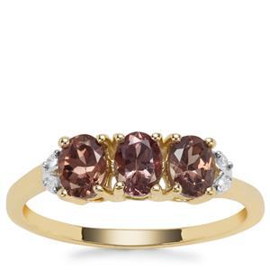 Miova Loko Colour Change Garnet Ring with Diamond in 9K Gold 1.23cts