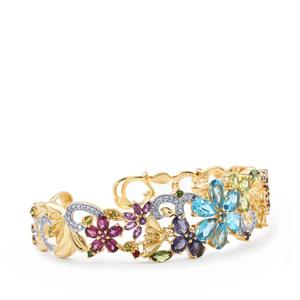 Kaleidoscope Gemstones Cuff in Gold Plated Sterling Silver 13.26cts