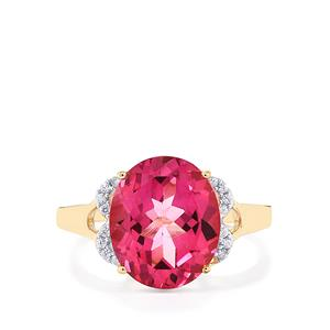 Mystic Pink Topaz Ring with White Zircon in 9K Gold 5.67cts