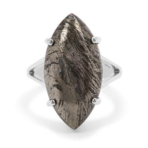 Feather Pyrite Ring in Sterling Silver 16cts