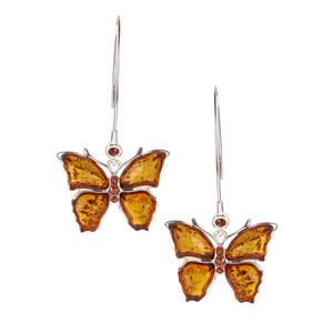 Baltic Cognac Amber Earrings with Garnet in Sterling Silver