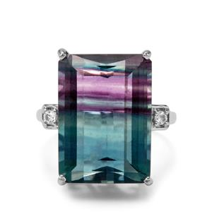 Zebra Fluorite Ring with White Zircon in Sterling Silver 20.31cts