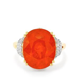 Mandarin Garnet & Diamond 18K Gold Lorique Ring MTGW 15.16cts