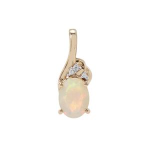 Ethiopian Opal Pendant with White Zircon in 9K Gold 0.76ct