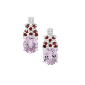 Rose De France Amethyst Earrings with Rajasthan Garnet in Sterling Silver 10.64cts