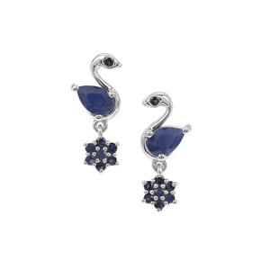 Orissa Sapphire Swan Earrings with Kanchanaburi Sapphire in Sterling Silver 1.73cts
