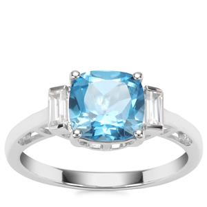 Swiss Blue Topaz Ring with White Zircon in Sterling Silver 3cts