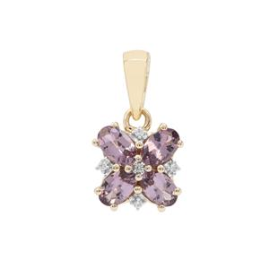 Mahenge Purple Spinel Pendant with White Zircon in 9K Gold 1.04cts