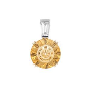 Lehrer Quasar Cut Diamantina Citrine Pendant with White Zircon in 9K Gold 5.30cts