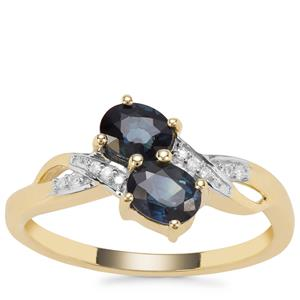 Australian Blue Sapphire Ring with Diamond in 9K Gold 1.11cts