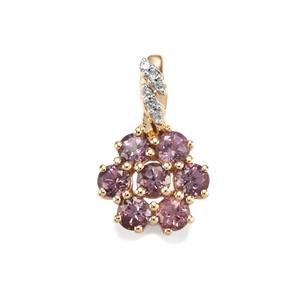 Mahenge Purple Spinel & Diamond 9K Gold Pendant ATGW 1.31cts