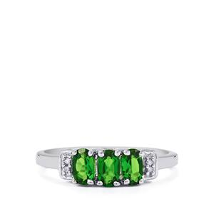 Chrome Diopside & Diamond Sterling Silver Ring ATGW 0.76cts