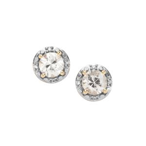 Singida Tanzanian Zircon Earrings with Ceylon White Sapphire in 9K Gold 1.79cts