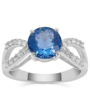 Colour Change Fluorite Ring with White Zircon in Sterling Silver 2.67cts