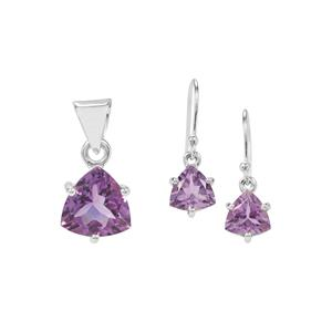 Bahia Amethyst Aryonna Set of Pendant and Earrings in Sterling Silver 6.50cts