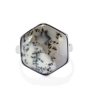 Siberian Dendrite Quartz Ring in Sterling Silver 12.48cts