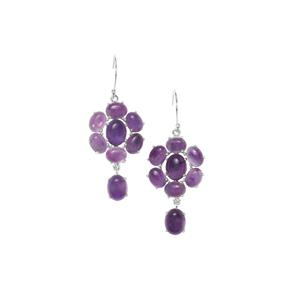 Zambian Amethyst Earrings in Sterling Silver 20.66cts