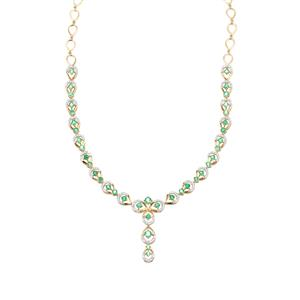 Ethiopian Emerald Necklace with Diamond in 18K Gold 4.49cts