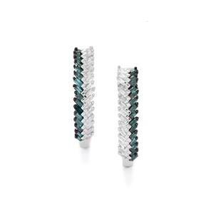 Diamond Earrings with Blue Diamond in Sterling Silver 0.51ct