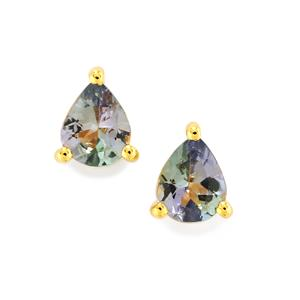 Bi Colour Tanzanite Earrings in 9K Gold 0.62ct