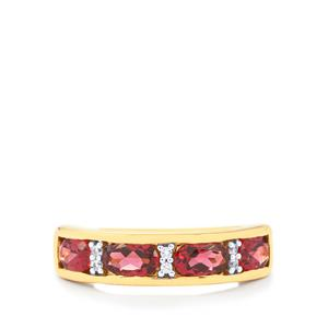 Rajasthan Garnet Ring with White Zircon in Gold Vermeil 2.38cts