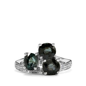Burmese Multi-Colour Spinel Ring with White Zircon in Sterling Silver 2.54cts