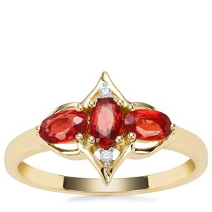 Songea Ruby Ring with White Zircon in 9K Gold 0.96cts