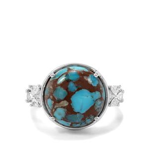 Egyptian Turquoise & White Zircon Sterling Silver Ring ATGW 7.07cts