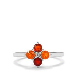 Mexican Fire Opal Ring with White Zircon in Sterling Silver 0.47ct