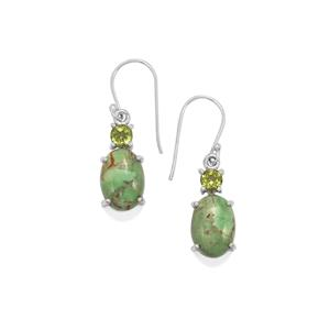Australian Variscite & Changbai Peridot Sterling Silver Aryonna Earrings ATGW 11cts
