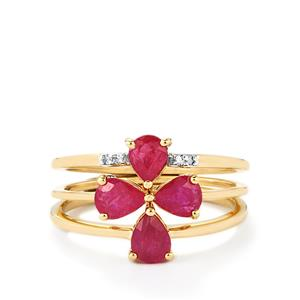Thai Ruby Set of 3 Stacker Rings with Diamond in 9K Gold 1.51cts