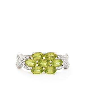 Changbai Peridot & White Topaz Sterling Silver Ring ATGW 2.04cts
