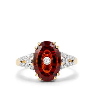 Lehrer TorusRing Madeira Citrine Ring with Diamond in 18k Gold 3.36cts