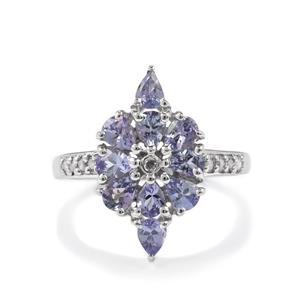 Tanzanite Ring with Diamond in Sterling Silver 1.42cts