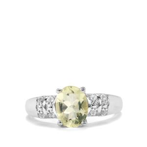 Chartreuse Sanidine & White Topaz Sterling Silver Ring ATGW 1.62cts