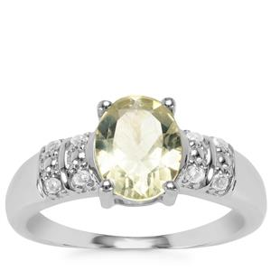 Chartreuse Sanidine Ring with White Topaz in Sterling Silver 1.62cts