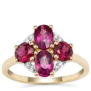 Comeria Garnet Ring with White Zircon in 9K Gold 2.56cts