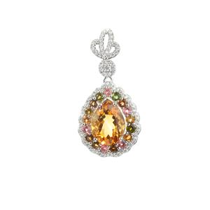 Citrine, Multi-Colour Tourmaline Pendant with White Zircon in Sterling Silver 10.74cts