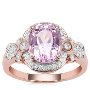 Kolum Kunzite Ring with Diamond in 18K Rose Gold 3.33cts
