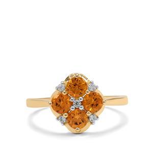 Mandarin Garnet Ring with White Zircon in 9K Gold 1.50cts