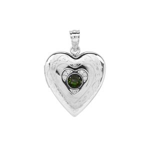 Chrome Diopside Locket with White Zircon in Sterling Silver 0.36ct