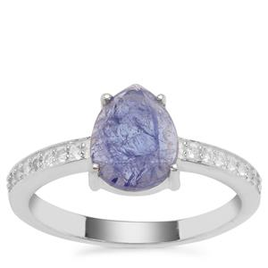 Tanzanite Ring with White Zircon in Sterling Silver 2.01cts