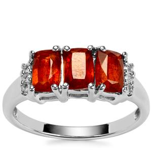 Loliondo Orange Kyanite Ring with White Topaz in Sterling Silver 2.22cts