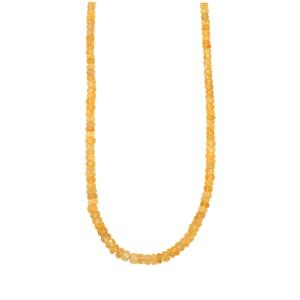 61.5ct Diamantina Citrine Sterling Silver Graduated Bead Necklace